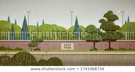 Background scene with raining in the park Stock photo © colematt
