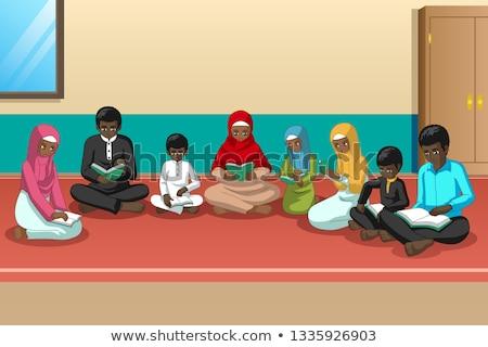 африканских мусульманских дома иллюстрация девушки детей Сток-фото © artisticco