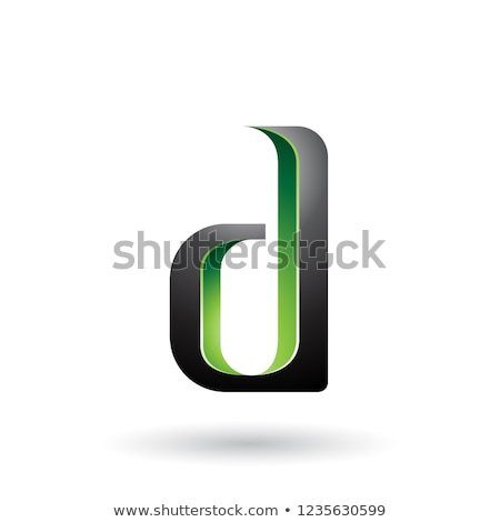Green and Black Shaded Letter D Vector Illustration Stock photo © cidepix