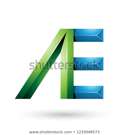 Green and Blue Pyramid Like Dual Letters of A and E Vector Illus Stock photo © cidepix