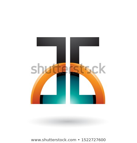 Persian Green and Orange Letters A and G with a Glossy Half Circ Stock photo © cidepix
