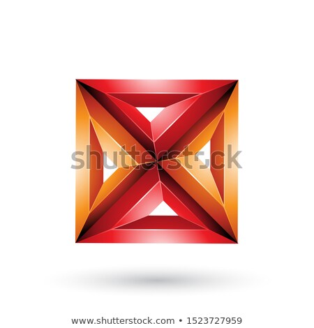 Red and Orange 3d Geometrical Embossed Square and Triangle X Sha Stock photo © cidepix