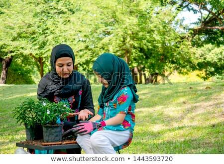 Müslüman aile bahçe örnek kız manzara Stok fotoğraf © colematt