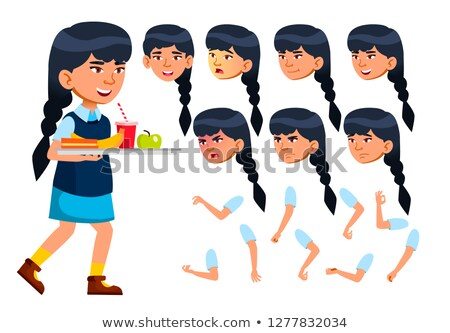 Asian Teen Girl Vector. Animation Creation Set. Face Emotions, Gestures. Face. Children. Animated. F Stock photo © pikepicture
