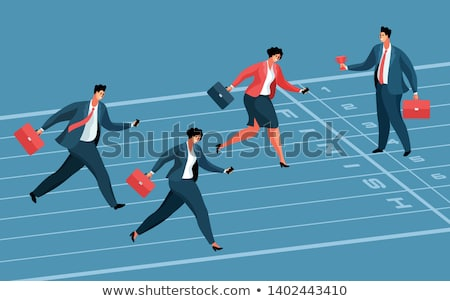 business competition vector businessman and woman from two sides pushing dominoes at each other il stock photo © pikepicture