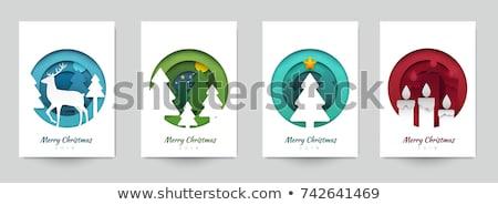 Merry Christmas Paper Cut Winter Holidays Set Stock photo © robuart
