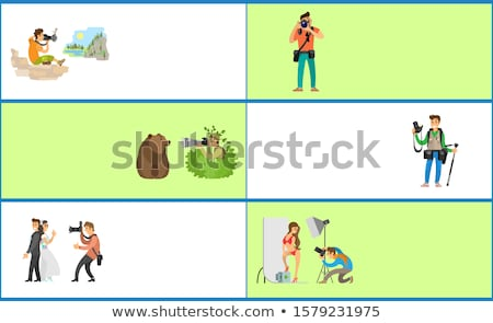 Photographer and Paparazzi Internet Banners Set Stock photo © robuart