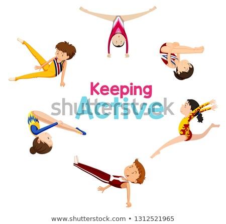 активный логотип гимнастики спортсмена иллюстрация тело Сток-фото © bluering