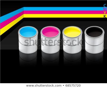 szín · csobbanások · négy · nyomtatás · ciánkék · magenta - stock fotó © make