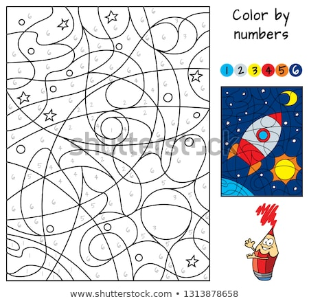 maze with rocket and planets color book vector illustration ...