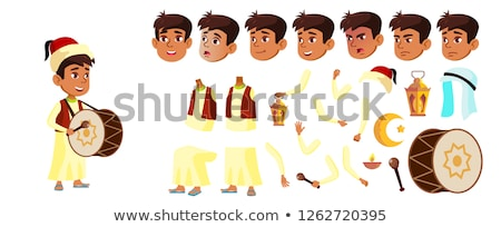 Arab, Muslim Boy Schoolboy Kid Vector. Animation Creation Set. For Banner, Flyer, Brochure Design. F Stock photo © pikepicture
