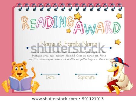 Czytania nagrody szablon kaczka książki ilustracja Zdjęcia stock © colematt