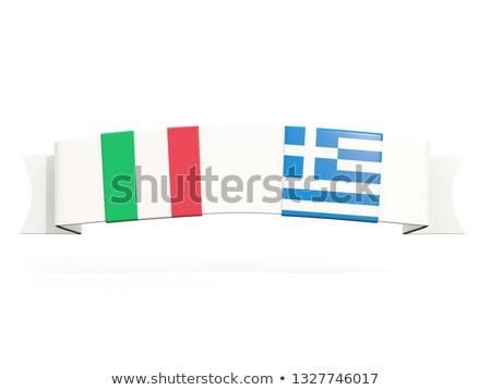 баннер два квадратный флагами Италия Греция Сток-фото © MikhailMishchenko