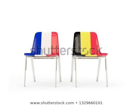 Iki sandalye bayraklar Fransa Belçika yalıtılmış Stok fotoğraf © MikhailMishchenko