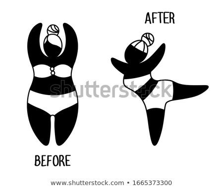 Blacks Women silhouette in underwear to lose weight set Stock photo © Blue_daemon