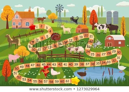 fazenda · cena · porco · vacas · ilustração · menina - foto stock © colematt
