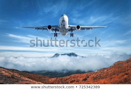 Airplane is flying over mountains and low clouds at sunset Stock photo © denbelitsky