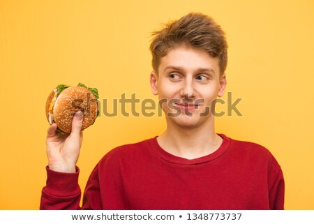 Stock photo: Red clothing boy_Meal