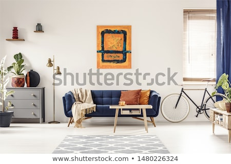 Bicycle hanging on white wall room interior Stock photo © amok