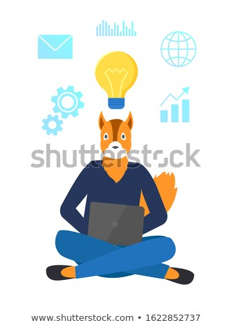Freelancer Hipster Animal with Laptop and Bulb Stock photo © robuart