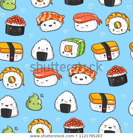 Stock photo: Seamless pattern of sushi