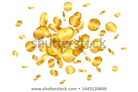 Yen gold coins explosion isolated on white background. Vector illustration Stock photo © olehsvetiukha