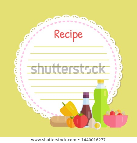 yellow circle recipe decorated by vegetable vector stock photo © robuart