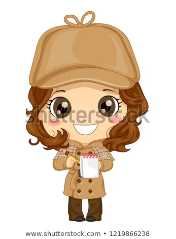 Criança menina detetive traje ilustração Foto stock © lenm