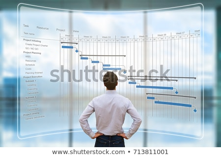 Businessman Looking At Gantt Chart On Computer Stock photo © AndreyPopov
