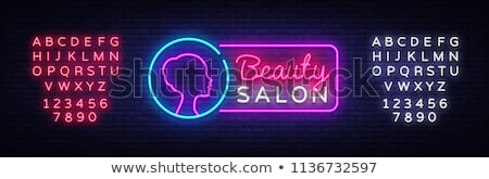 Szépségszalon neon szöveg kozmetika promóció nő Stock fotó © Anna_leni