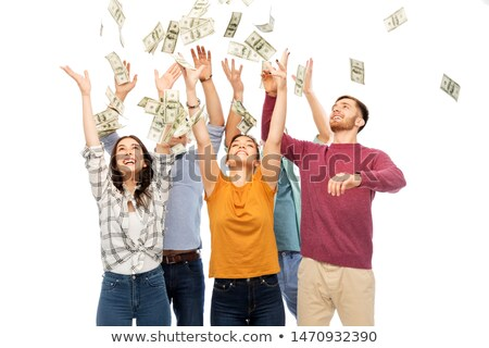 Stock photo: happy friends picking money falling from up above