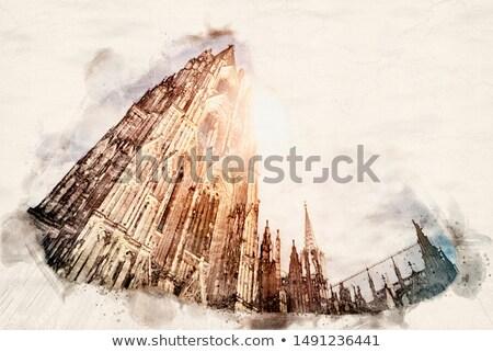 Aquarel kathedraal illustratie papier gebouw Stockfoto © unkreatives