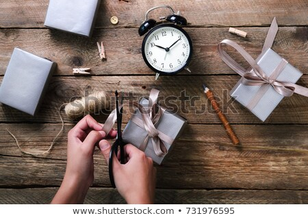 Christmas alarm clock and gift boxes Stock photo © karandaev