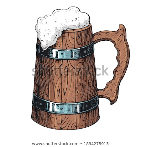 Beer Wooden Cup Brewery Advertising Banner Vector Stock photo © pikepicture