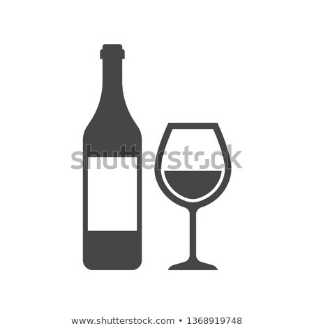 Champagne Bottle And Glass Monochrome Set Vector Stock photo © pikepicture