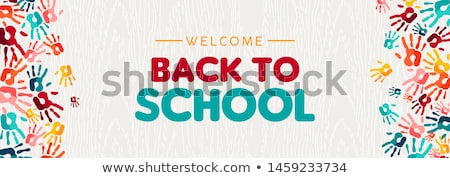 Back to school card of diverse children hand print Stock photo © cienpies