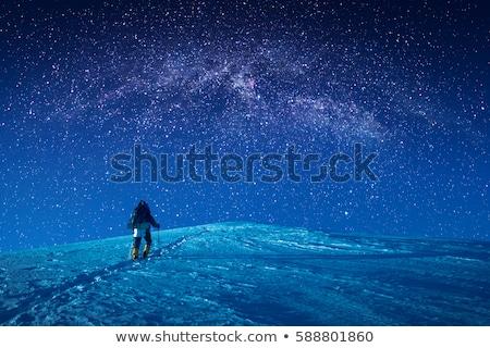 światło księżyca ilustracja człowiek śniegu księżyc sylwetka Zdjęcia stock © adrenalina