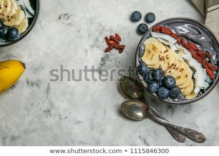 Zwarte houtskool smoothie kom bes banaan Stockfoto © furmanphoto