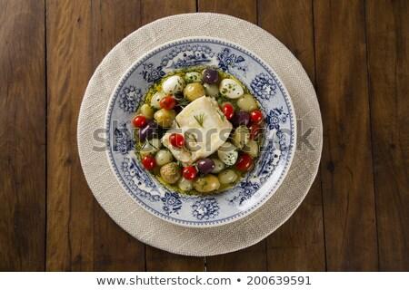 Stok fotoğraf: Plaka · balık · akşam · yemeği · beyaz · pişirmek