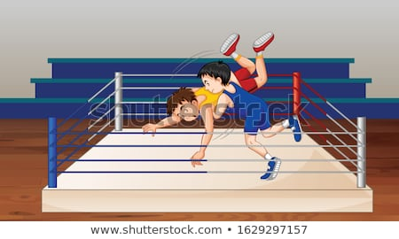 Scene with people doing wrestling in the ring Stock photo © bluering