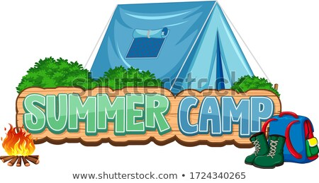 Font design for word summer camp with blue tent in background Stock photo © bluering