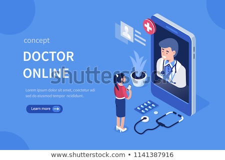 Online Doctor and Medical Diagnostics Isometric Banners Stock photo © -TAlex-