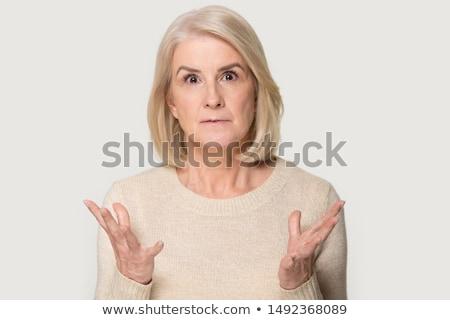Kép ijedt kaukázusi nő néz kamera Stock fotó © deandrobot