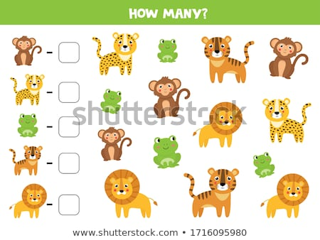 how many lions and monkeys educational task for children Stock photo © izakowski