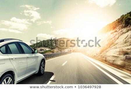 Autók száguld autópálya felülnézet út Stock fotó © CrackerClips