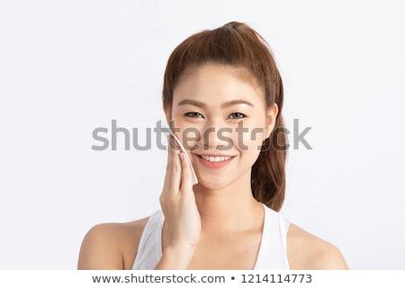красивая · девушка · косметики · хлопка · лице · красивой · молодые - Сток-фото © darrinhenry
