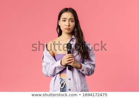Smiling Caucasian Woman Holding Microphone White Background Stock photo © Qingwa
