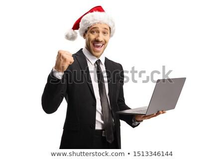 Celebrating Caucasian Man Suit Holding Laptop Isolated White Bac stock photo © Qingwa