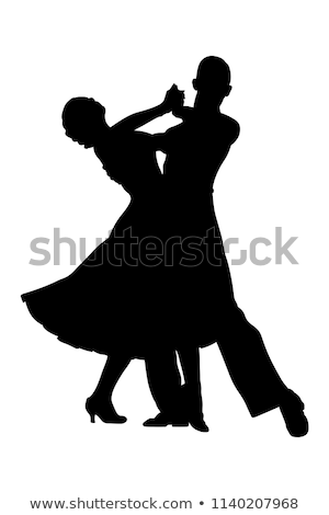 Dans çift siluet vektör yalıtılmış beyaz Stok fotoğraf © illustrart
