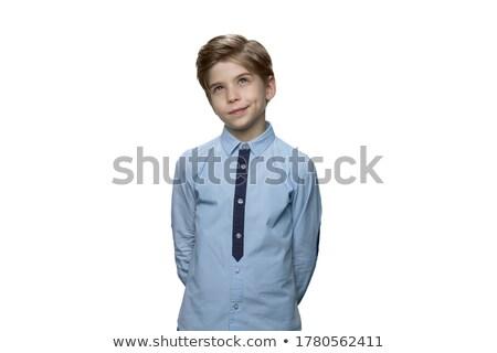 kicsi · fiú · gondolkodik · boldog · divat · háttér - stock fotó © hasloo